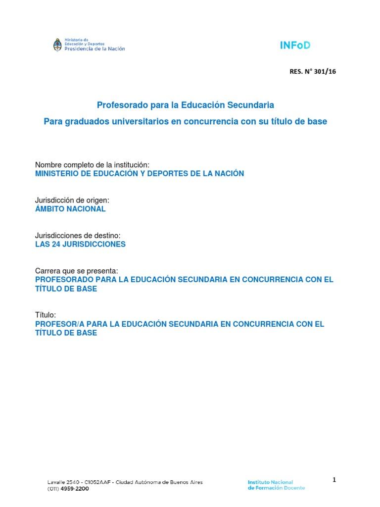 Res 301 16 Profesorado Para La Educación Secundaria