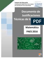 Justificaciones Matemática PAES 2016