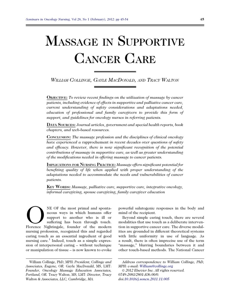 Massage In Supportive Cancer Care Massage Cancer