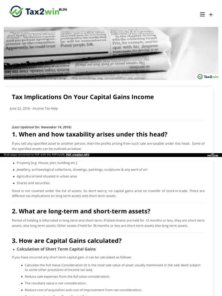 tax breakup on capital gain income | capital gains tax | expense