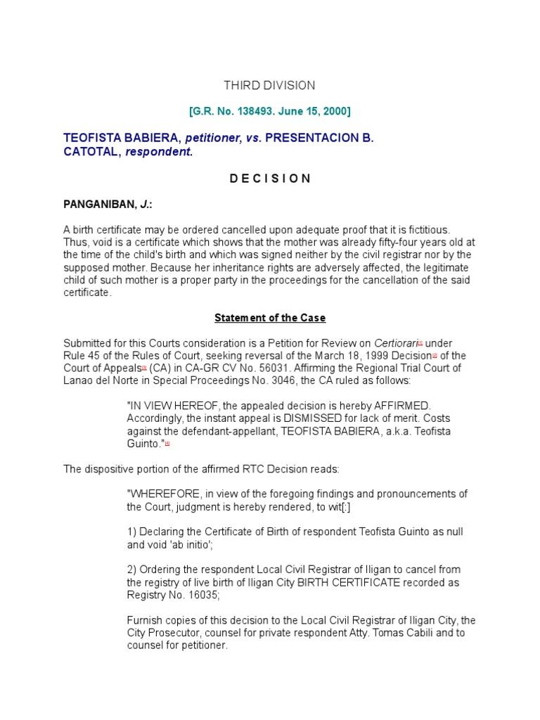 Babiera case birth certificate legitimacy family law aiddatafo Choice Image