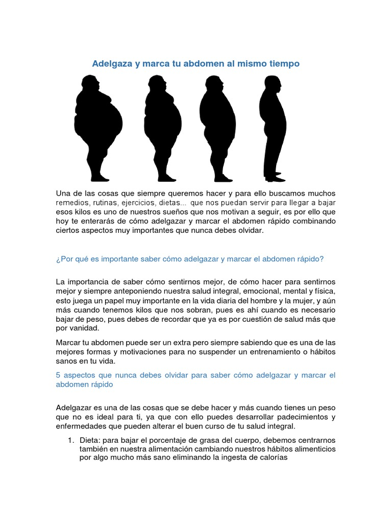 Ejercicios para bajar de peso y marcar abdomen