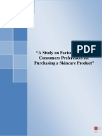 A Study on Factors AffectingConsumers Preferences ForPurchasing a Skincare Product