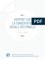 Rapport Concertation Sociale Sectorielle  2016  -Service public fédéral Emploi, Travail et Concertation sociale