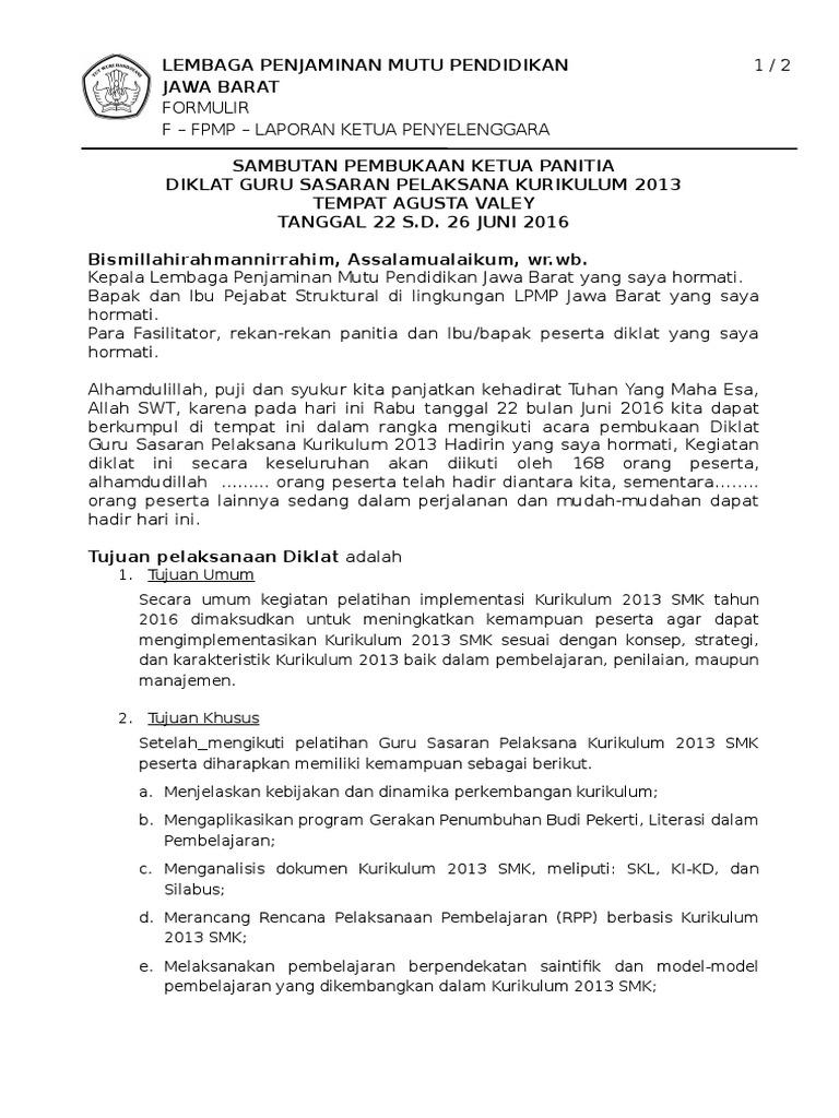 Contoh Laporan Ketua Panitia Pelaksana Kegiatan Seputar Laporan