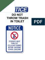 Tidak Membuang Sampah Di Toilet