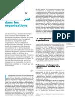 La Gestion Du Changement Dans Les Organisations