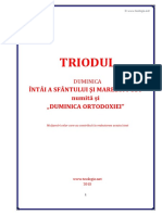 Triod Duminica Ortodoxiei