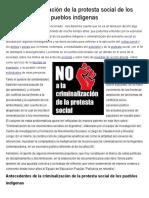 La Criminalización de La Protesta Social de Los Pueblos Indígenas