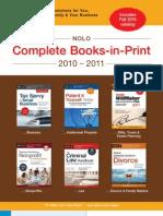 Nolo Complete Books-in-Print 2010-2011