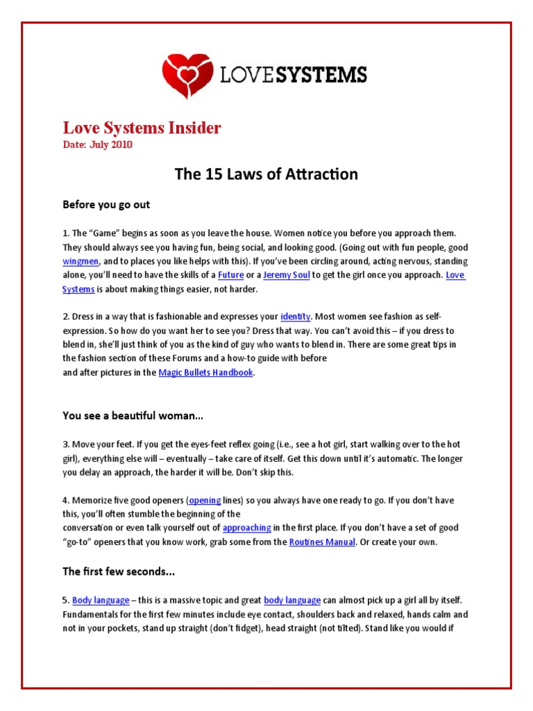 Love Systems Insider: 15 Laws of Attraction | Action