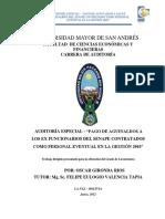 PAGO DE AGUINALDOS A LOS EX FUNCIONARIOS DEL SENAPE CONTRATADOS COMO PERSONAL EVENTUAL EN LA GESTIÓN 2003