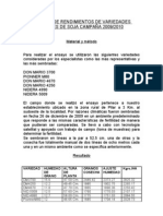 ENSAYO DE RENDIMIENTOS DE VARIEDADES LÍDERES DE SOJA CAMPAÑA 2009