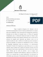 Oficio enviado a Puricelli por el Fiscal Gustavo Gómez en el 2013