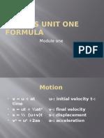 Physics Unit One Formula