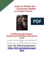 Télécharger La Planète Des Singes - Suprématie DVDRip Film Complet Torrent