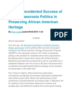 the unprecedented success of savvy grassroots politics in preserving african american heritage