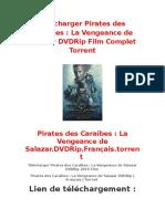 Télécharger Pirates Des Caraïbes La Vengeance de Salazar DVDRip Film Complet Torrent