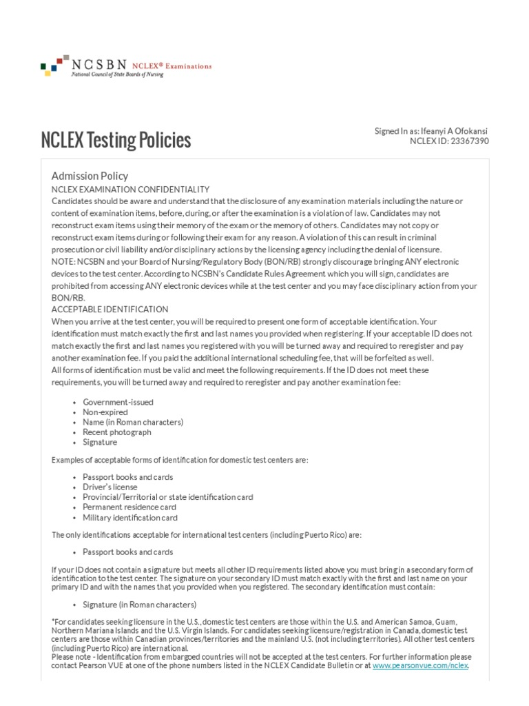 Pearson Vue Nclex Testing Policies National Council Licensure
