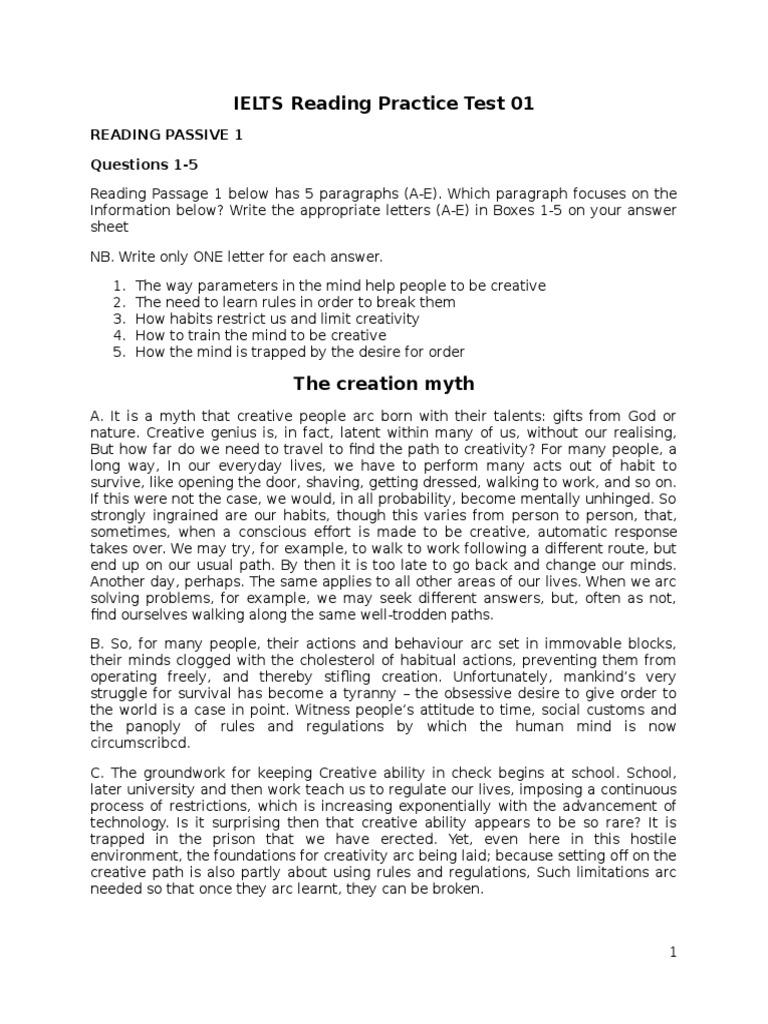 IELTS Reading Practice Test 01 | Voicemail | Creativity