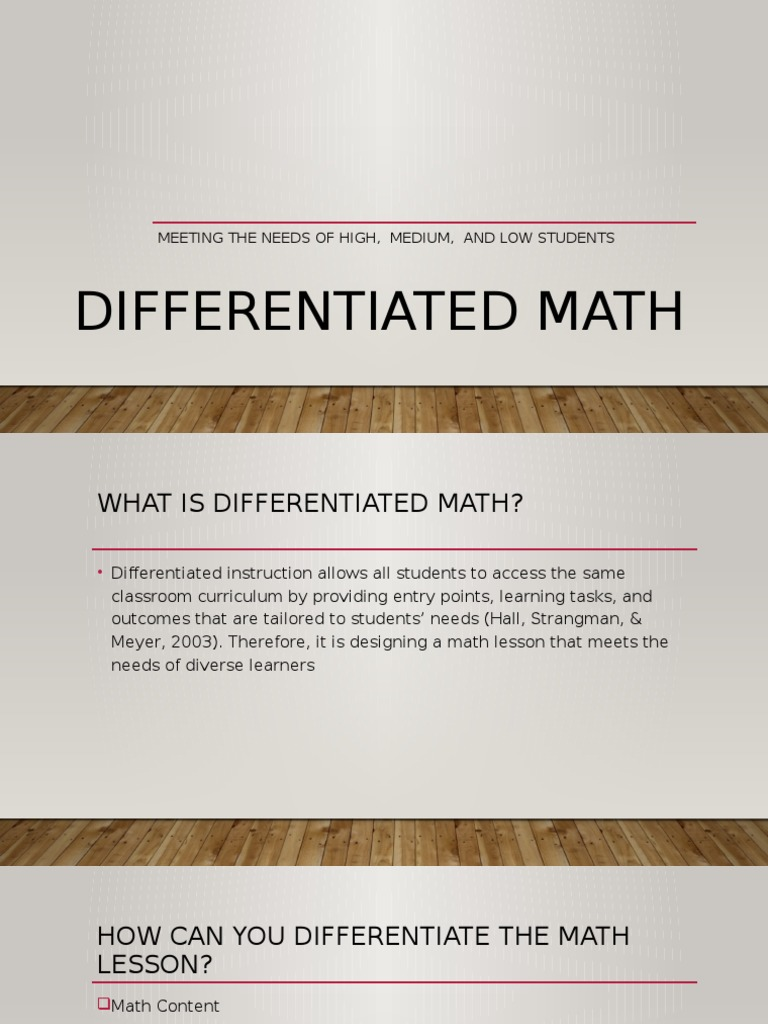 Differentiated Math Pd Applied Psychology Pedagogy