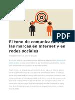 CM - El Tono de Comunicación de Las Marcas en Internet y en Redes Sociales