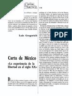 Carta de Mexico La Experiencia de La Libertad en El Siglo Xx