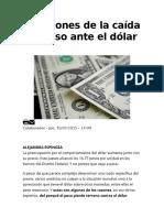 10 Razones de La Caída Del Peso Ante El Dólar