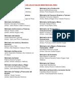 Nombres de Los Actuales Ministros Del Perú