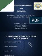 Ejemplos de Resolucion de Ecuaciones