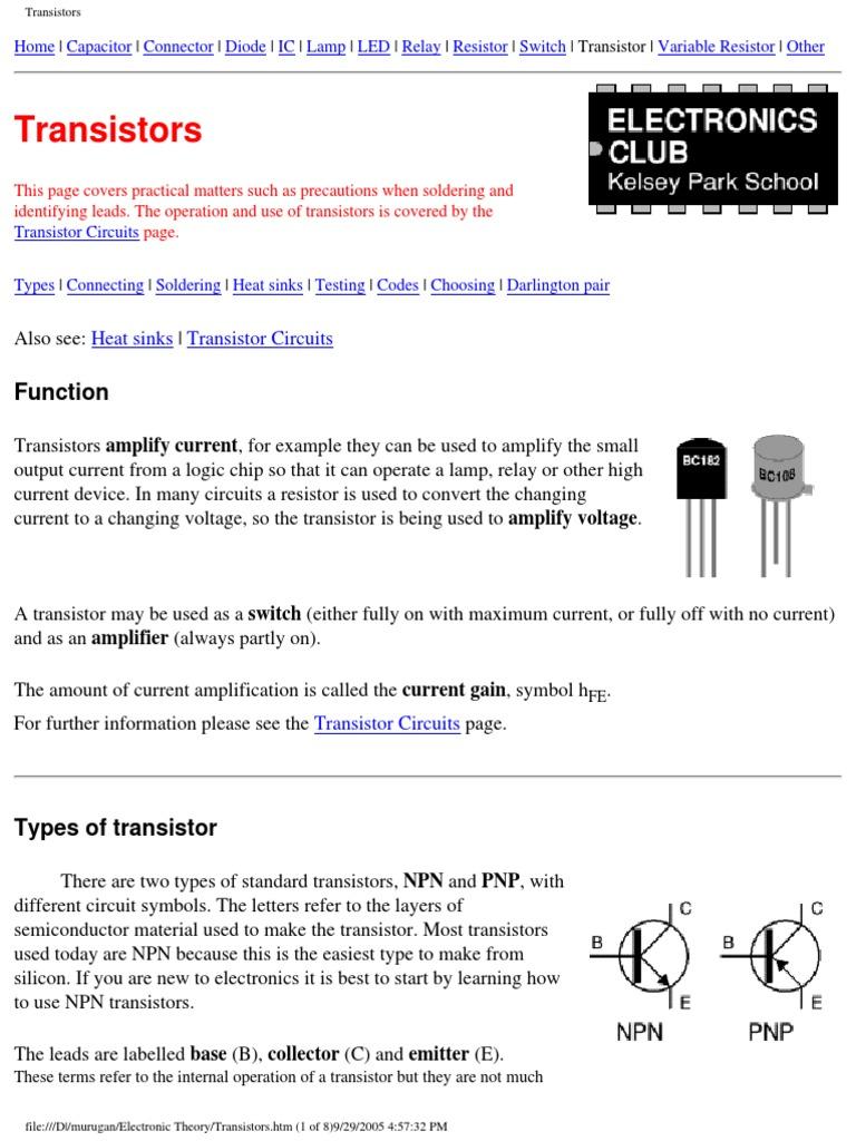 Transistors Transistor Bipolar Junction Transistor