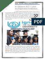 IGNOU Online Admission 2017 | Latest UG/PG/Diploma Registration Notification