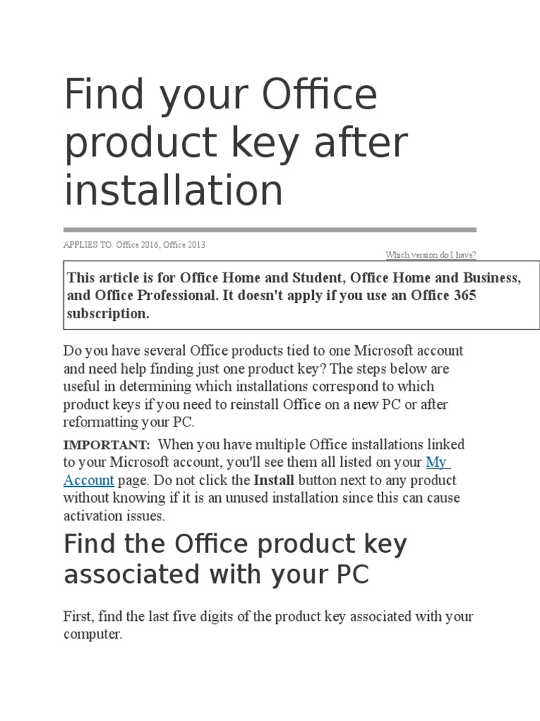how to find the office product key