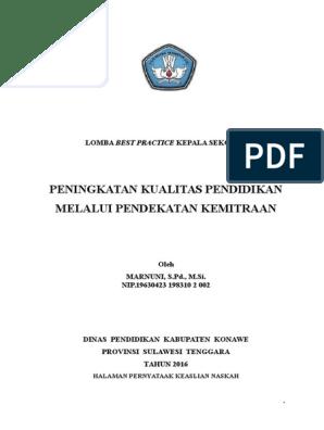 Laporan Best Practice Kepsek Sdn 2 Tawarotebota Kabupaten Konawe Sultra Docx