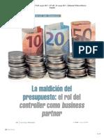 La maldicion del presupuesto, el rol del controller como business partner