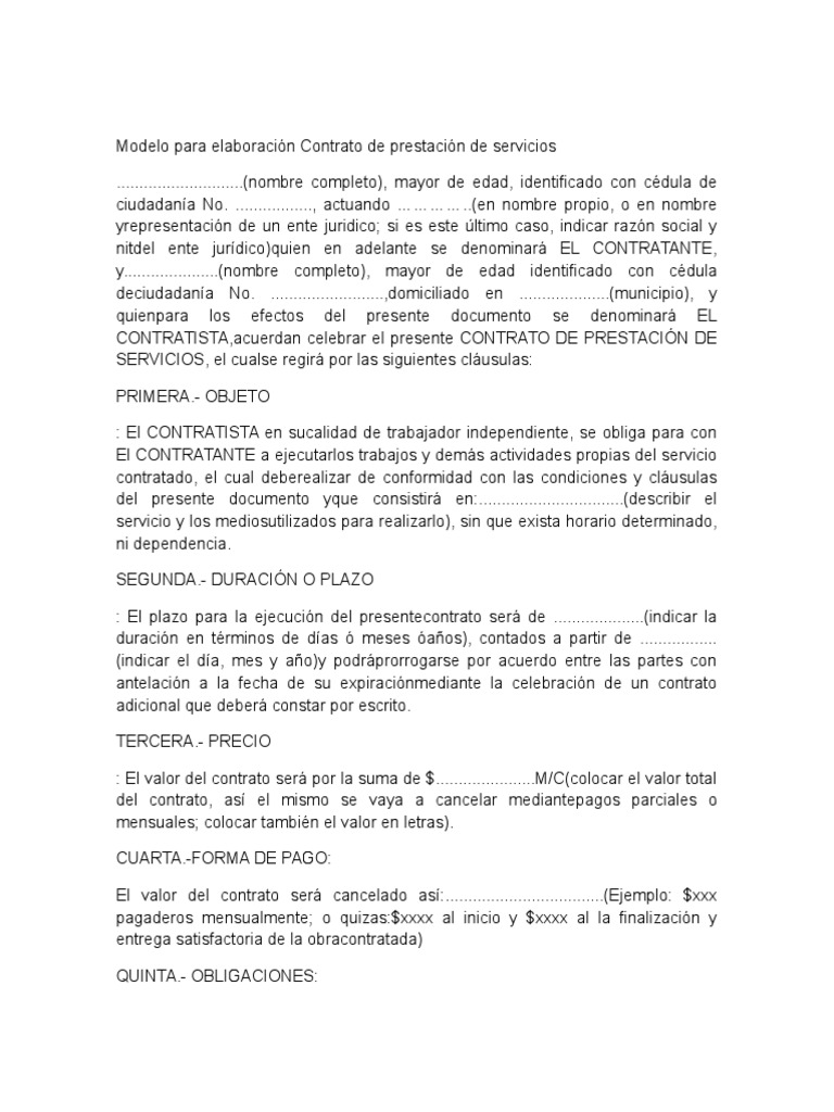 Contrato de Prestación de Servicios Ayudante