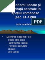 Autonomii Locale Şi Instituţii Centrale Recapitulare