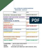 Calendario Para La Entrega Del Cuaderno 2017-2017