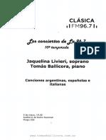 Programa de Mano - 05-05-2017 - Junto a Jaquelina Livieri - Radio Nacional Clásica