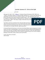 Cornerstone Financial Corporation Announces 10 - 1 Reverse Stock Split