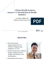 Module 1.1 Introduction to Health Analytics
