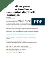 Cinco Dicas Para Decorar Famílias e Elementos Da Tabela Periódica