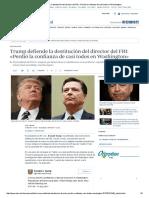 Trump defiende la destitución del director del FBI