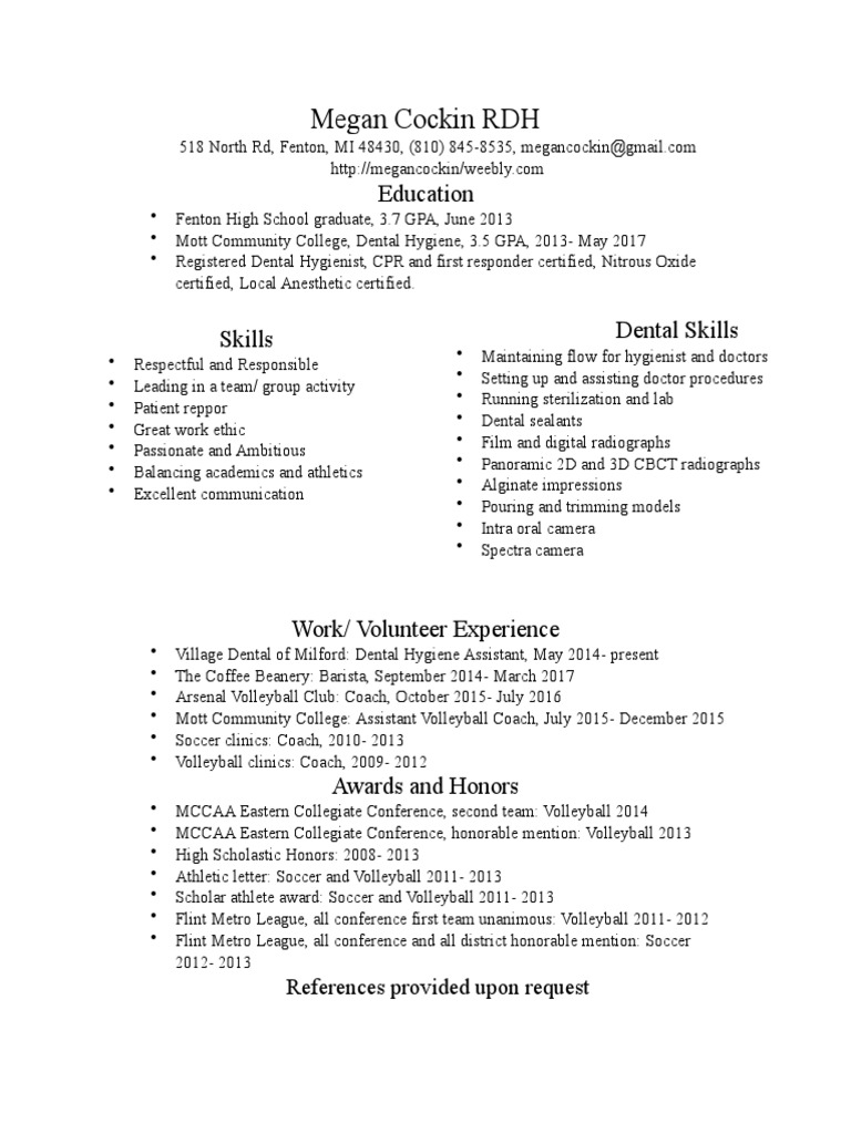 Resume2017 dental hygienist clinical medicine xflitez Gallery