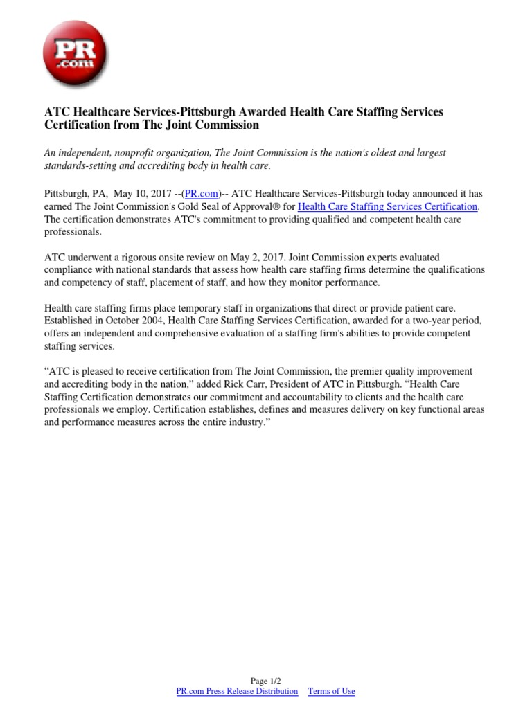 Atc Healthcare Services Pittsburgh Awarded Health Care Staffing