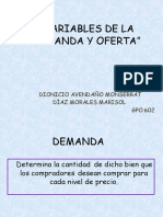 Variables de Demanda y Oferta
