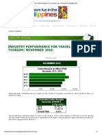(DOT) Industry Performance for Travel and Tourism - As of November 2016