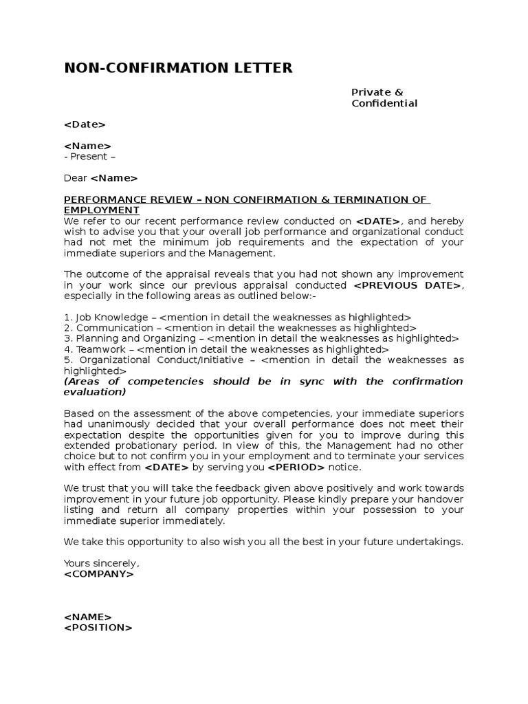 Non Confirmation Letter Performance Appraisal Organizational Behavior