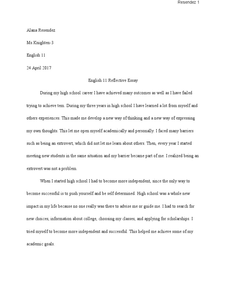 English  Reflective Essay  Secondary School  Essays