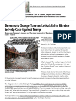 Democrats Change Tune on Lethal Aid to Ukraine to Help Case Against Trump